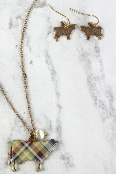 Perfectly Plaid Cow Goldtone Necklace and Earring Set