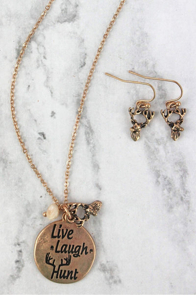 Worn Goldtone 'Live Laugh Hunt' Necklace and Earring Set