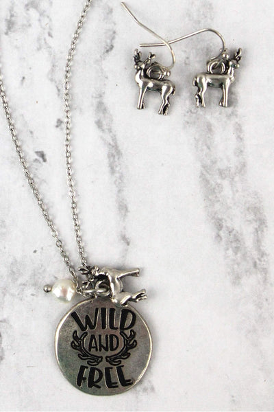 Burnished Silvertone 'Wild and Free' Necklace and Earring Set
