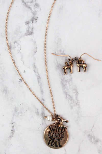 Worn Goldtone 'Wild and Free' Necklace and Earring Set