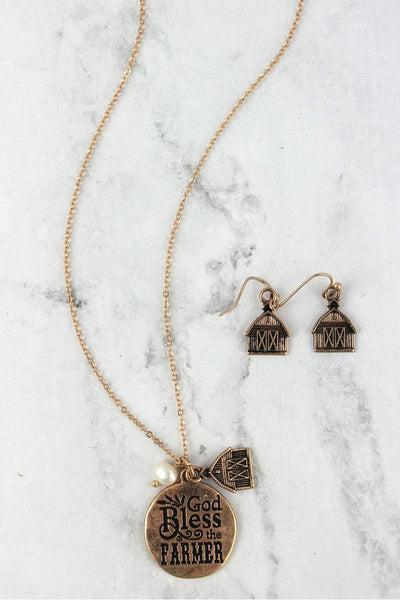 Worn Goldtone 'God Bless The Farmer' Necklace and Earring Set