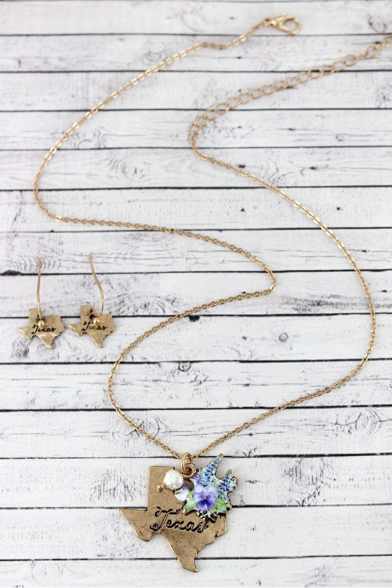 Blue Bonnet Bouquet Goldtone Texas Necklace and Earring Set