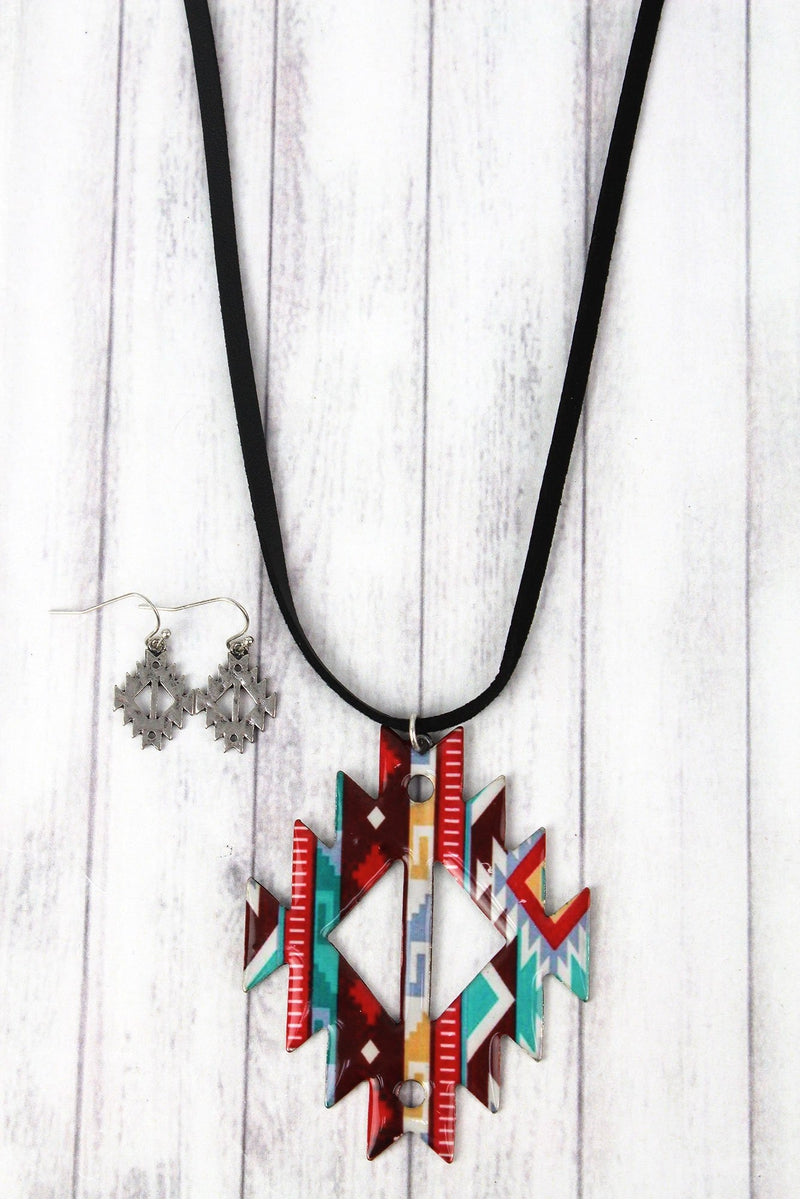 Santa Fe Days Faux Suede Necklace and Earring Set