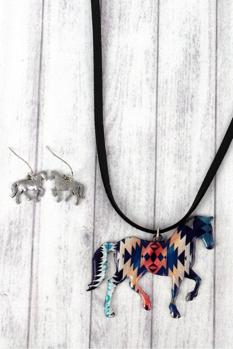 Southwestern Skies Horse Faux Suede Necklace and Earring Set