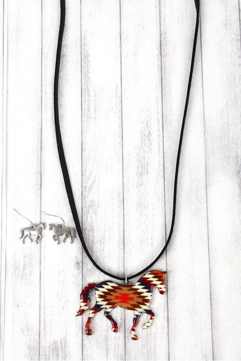 Adobe Vista Horse Faux Suede Necklace and Earring Set