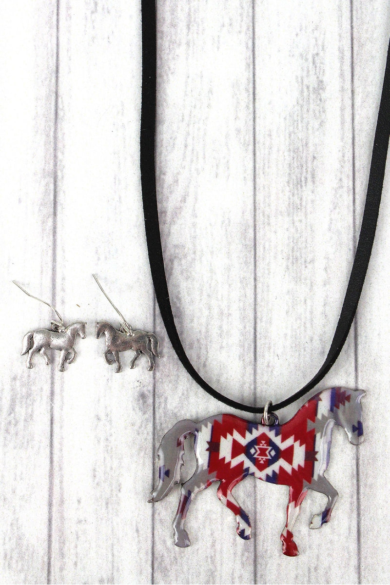 Desert Daydreams Horse Faux Suede Necklace and Earring Set