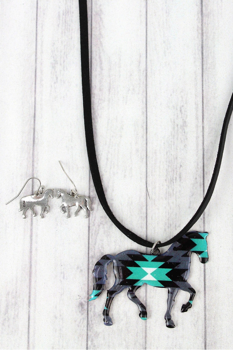 Desert Shadows Horse Faux Suede Necklace and Earring Set