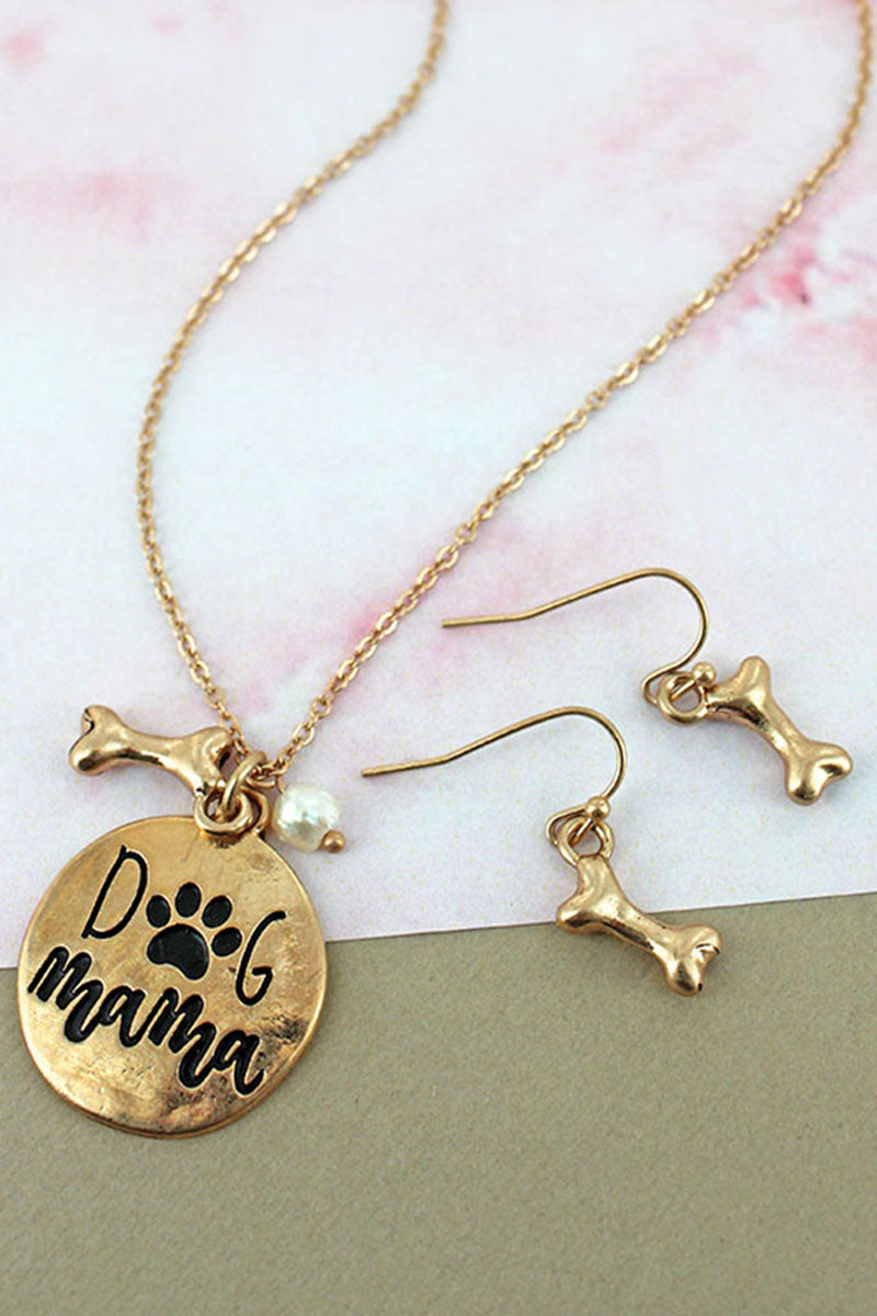 Worn Goldtone 'Dog Mama' Necklace and Earring Set
