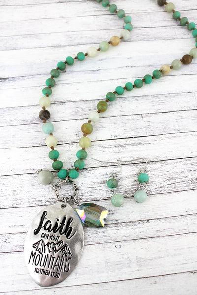 Silvertone 'Faith Can Move Mountains' Turquoise Beaded Necklace and Earring Set
