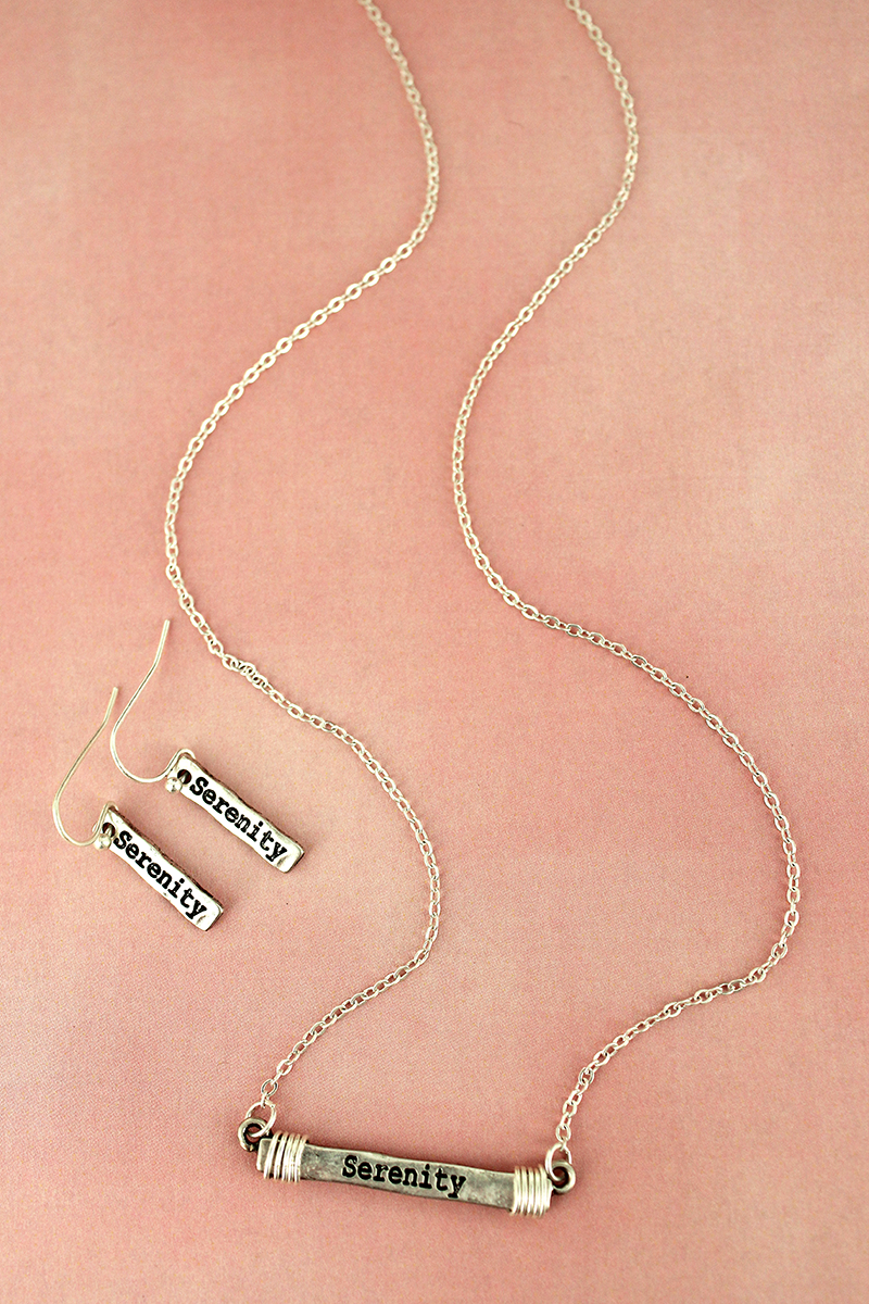 Worn Silvertone Wire-Wrapped 'Serenity' Bar Necklace and Earring Set