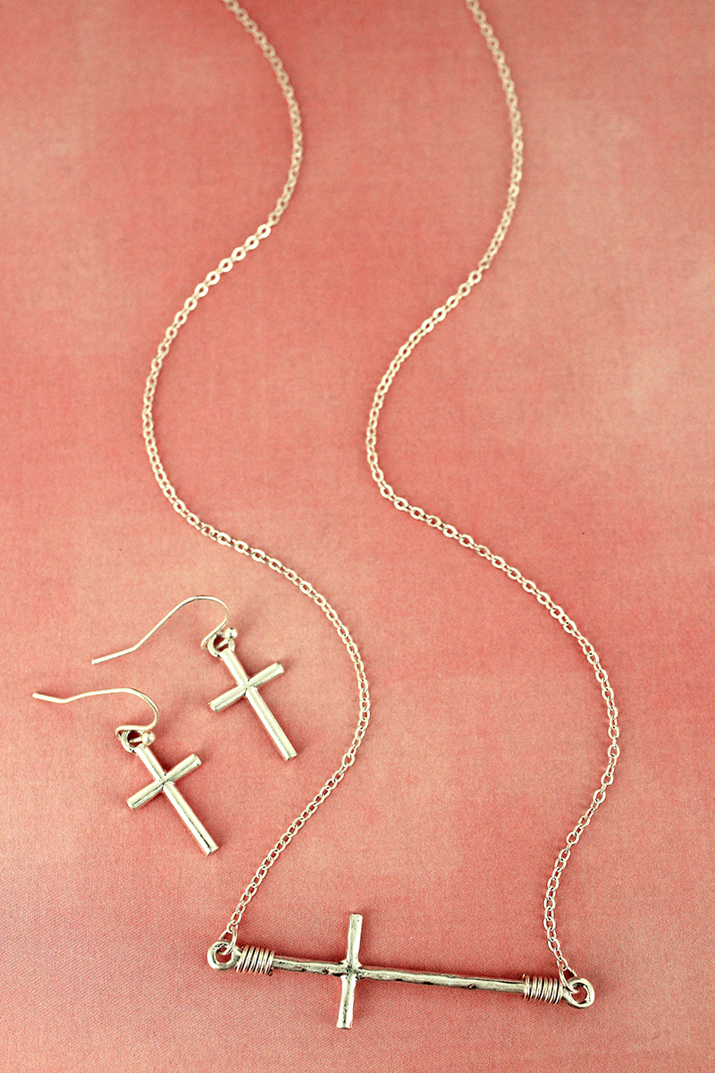 Worn Silvertone Wire-Wrapped Sideways Cross Necklace and Earring Set