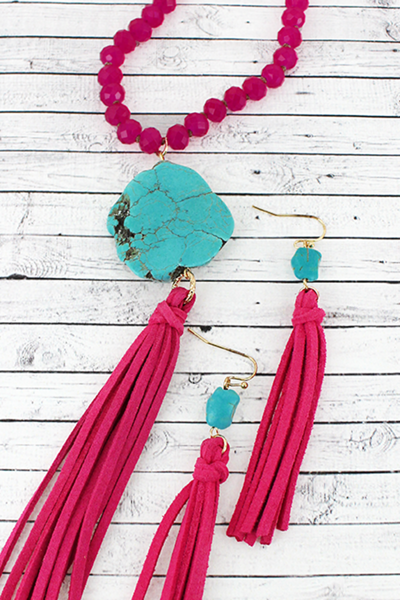 Fuchsia Beaded Turquoise Stone & Tassel Pendant Necklace and Earring Set