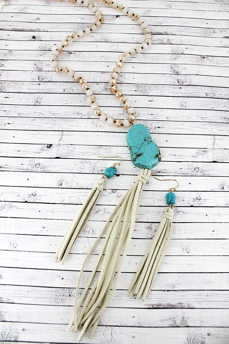 Ivory Beaded Turquoise Stone & Tassel Pendant Necklace and Earring Set