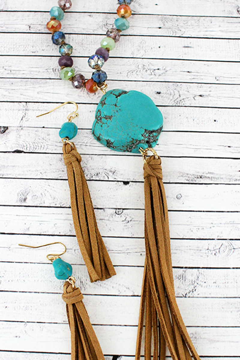 Multi-Color Beaded Turquoise Stone & Tassel Pendant Necklace and Earring Set