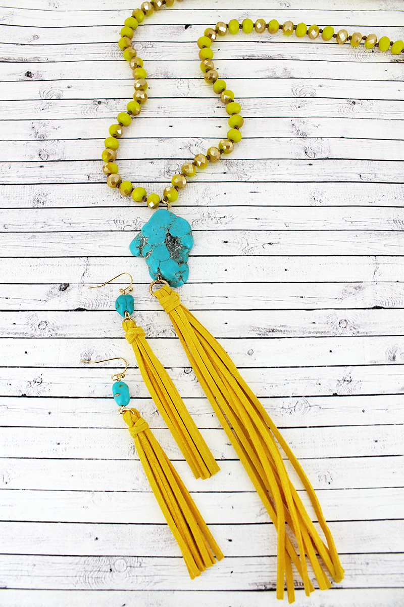 Yellow Beaded Turquoise Stone & Tassel Pendant Necklace and Earring Set