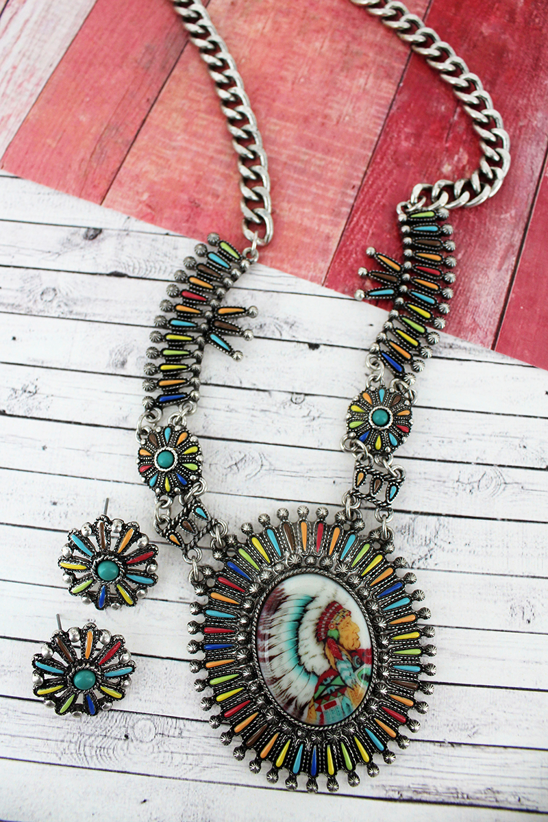Multi-Color and Silvertone Indian Chief Portrait Necklace and Earring Set