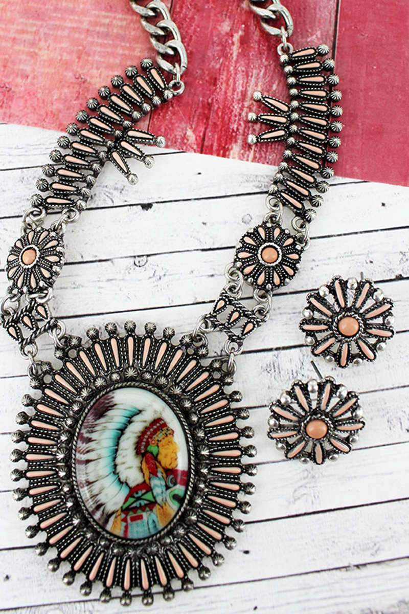 Pink and Silvertone Indian Chief Portrait Necklace and Earring Set