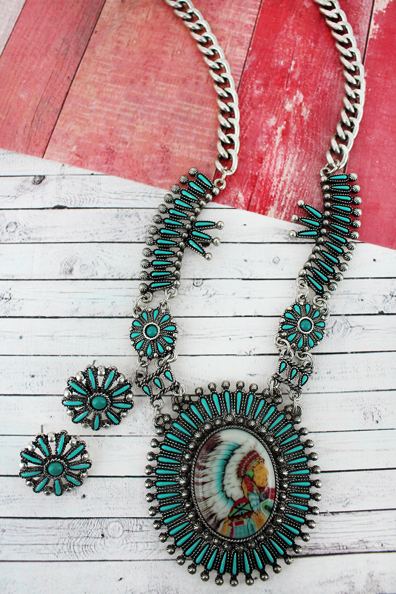 Turquoise and Silvertone Indian Chief Portrait Necklace and Earring Set