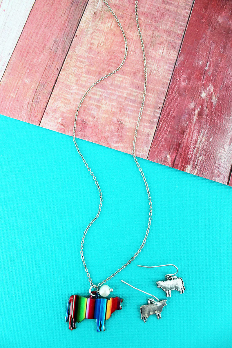 Serape Cow Silvertone Necklace and Earring Set