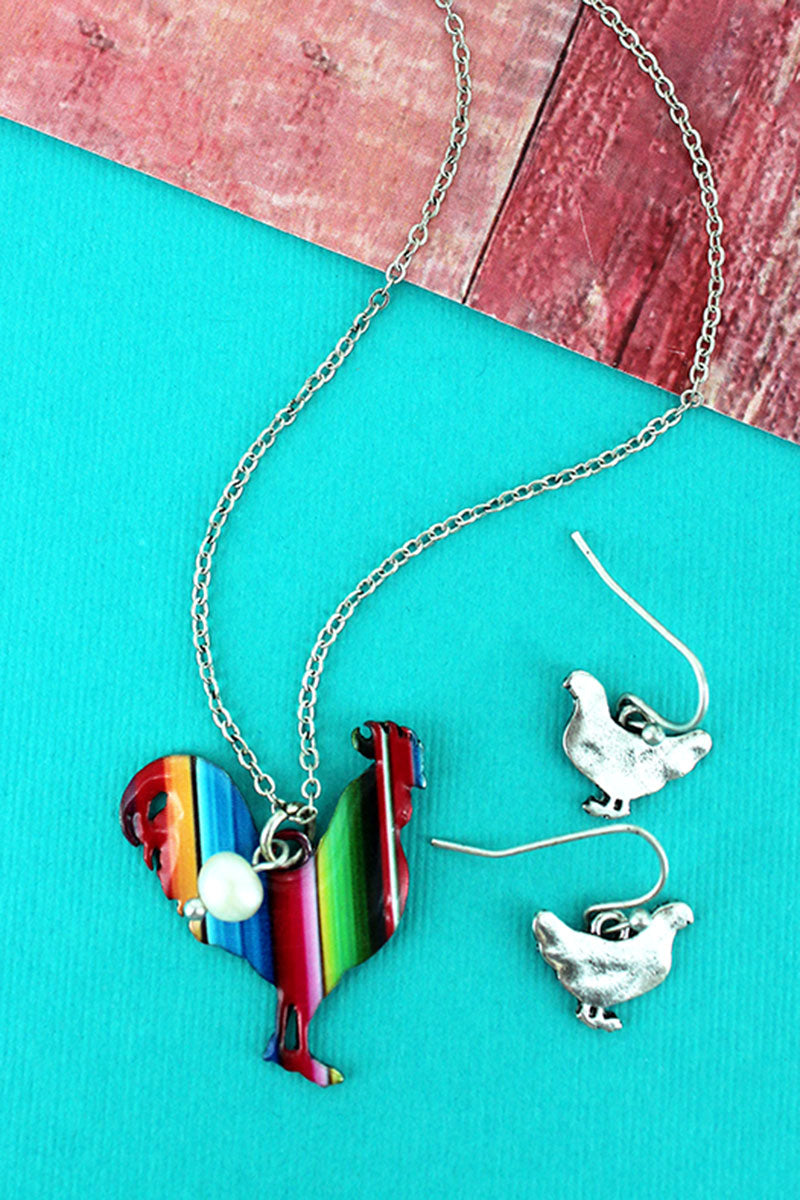 Serape Rooster Silvertone Necklace and Earring Set