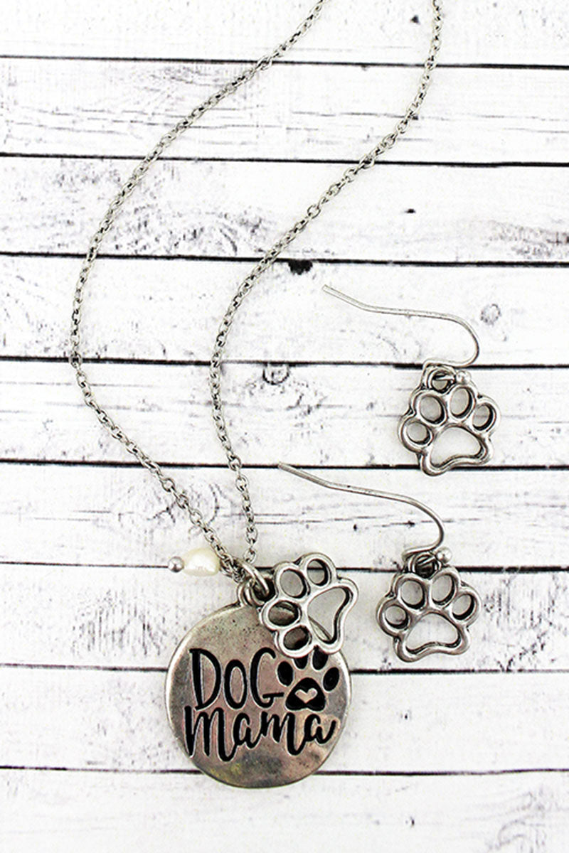 Burnished Silvertone 'Dog Mama' Necklace and Earring Set