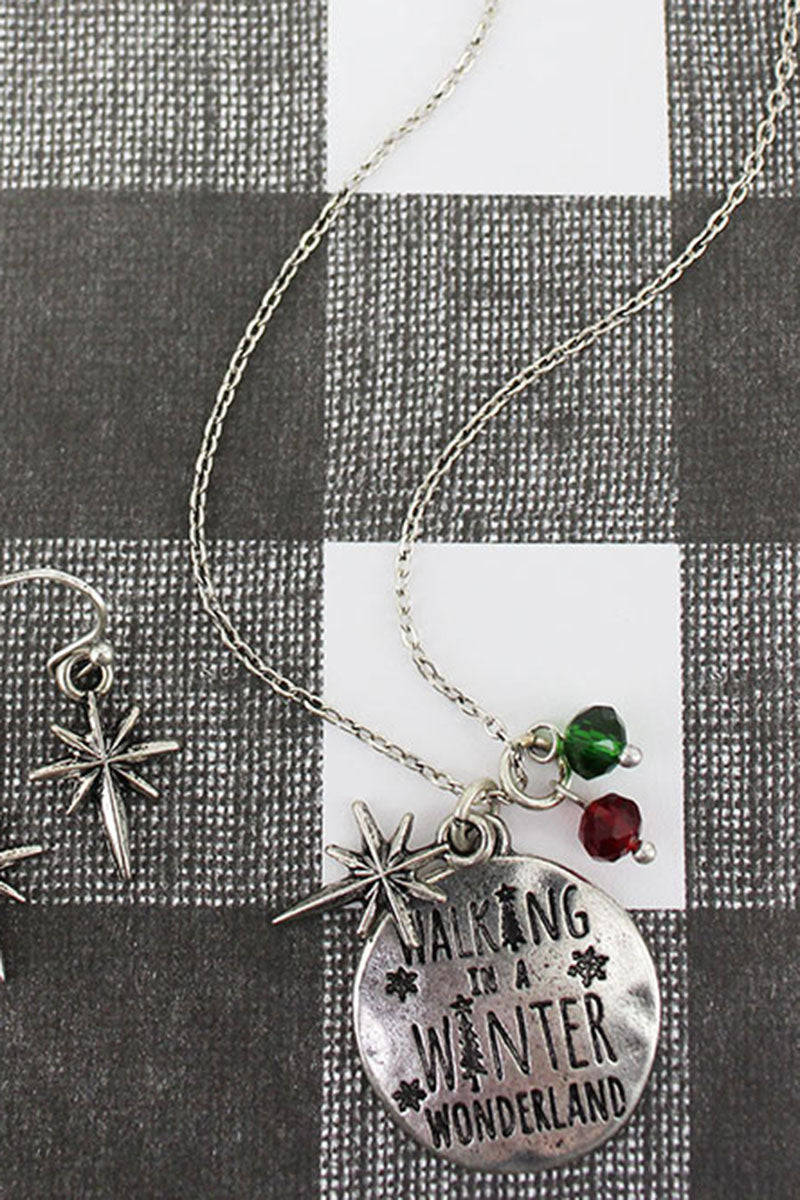 Burnished Silvertone 'Winter Wonderland' Necklace and Earring Set