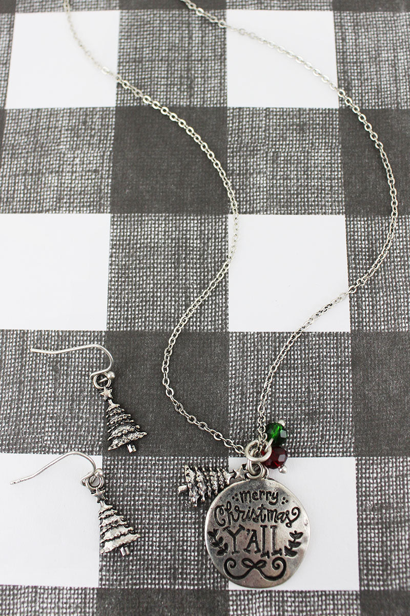 Burnished Silvertone 'Merry Christmas Y'all' Necklace and Earring Set