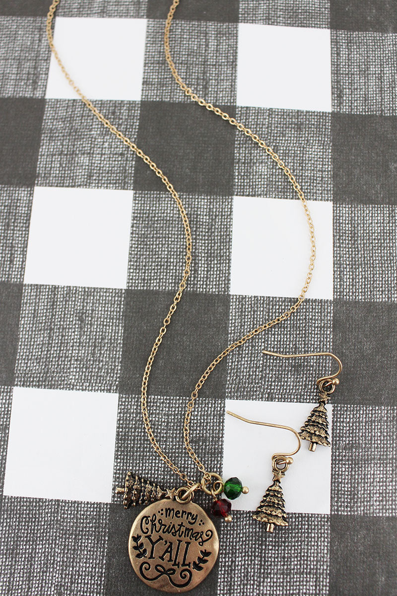 Worn Goldtone 'Merry Christmas Y'all' Necklace and Earring Set