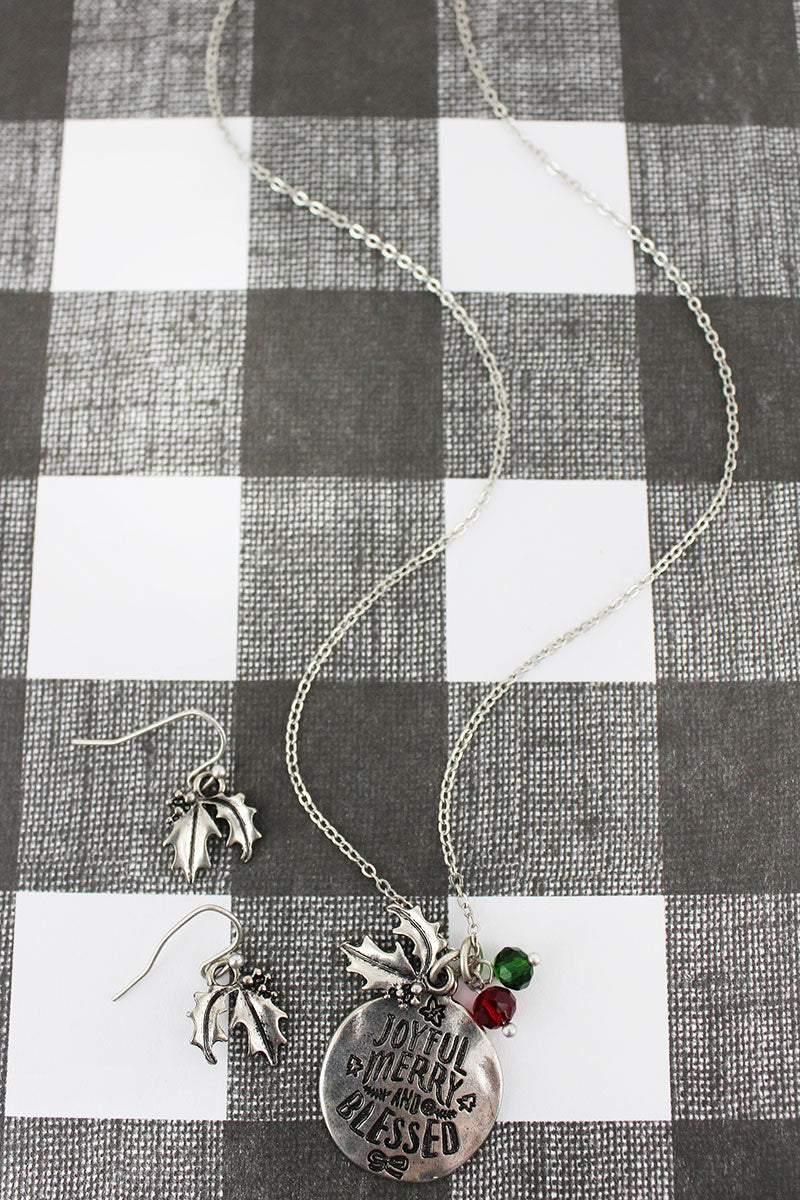 Burnished Silvertone 'Joyful Merry And Blessed' Necklace and Earring Set