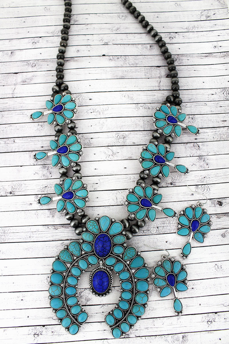 Turquoise and Blue Cluster Squash Blossom Silver Navajo Pearl Necklace and Earring Set
