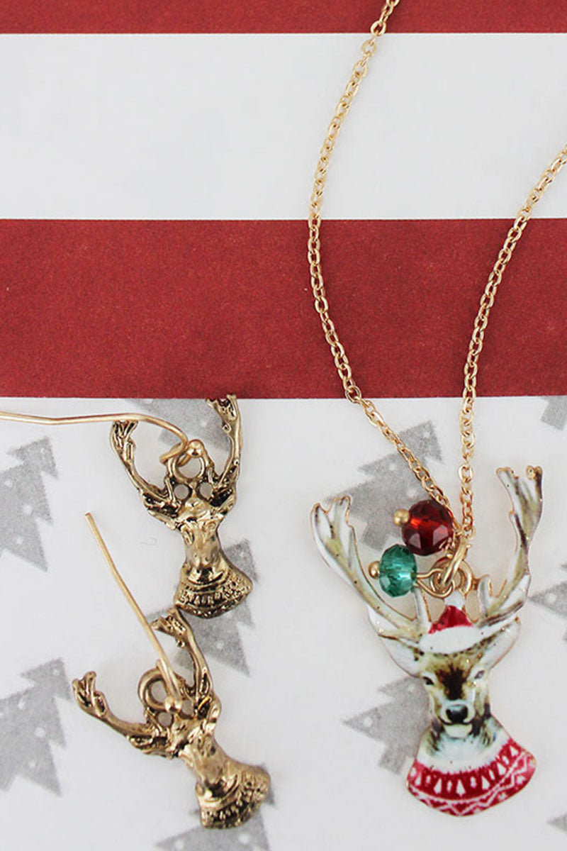 Reindeer Worn Goldtone Necklace and Earring Set