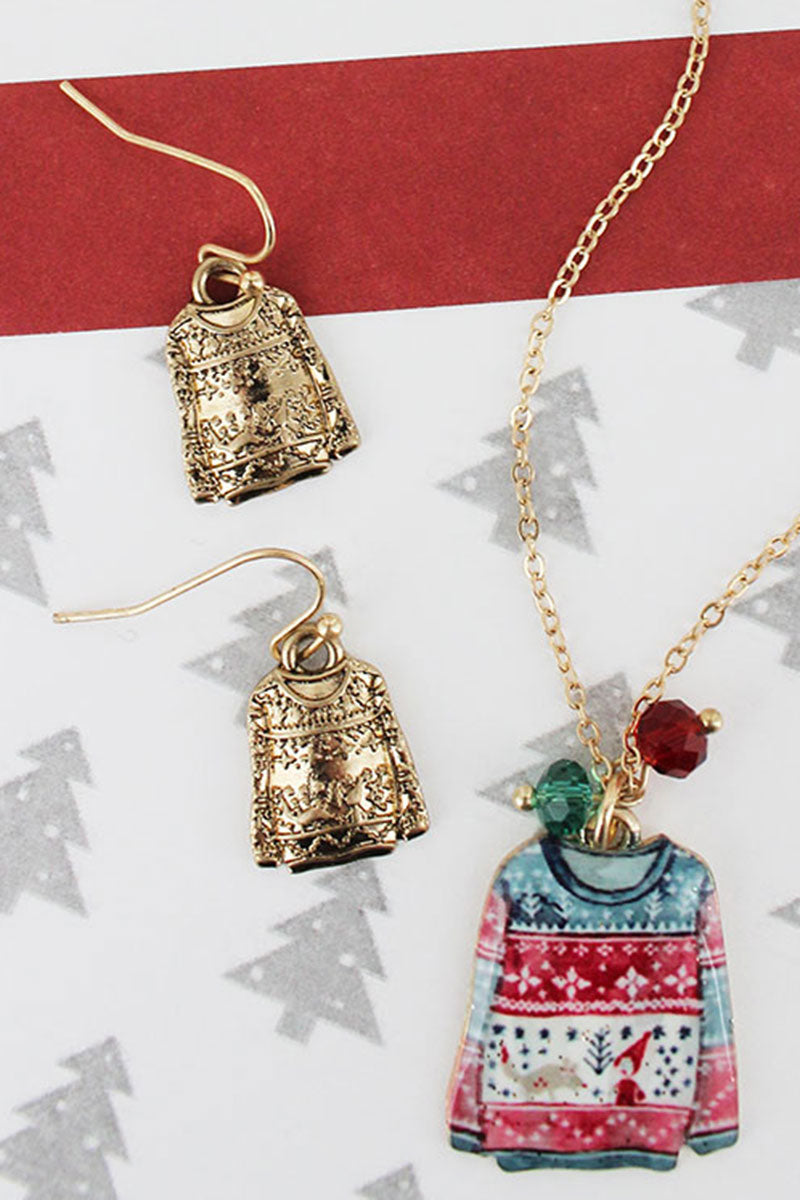 Ugly Christmas Sweater Worn Goldtone Necklace and Earring Set