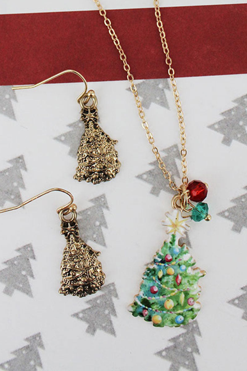 Christmas Tree Worn Goldtone Necklace and Earring Set