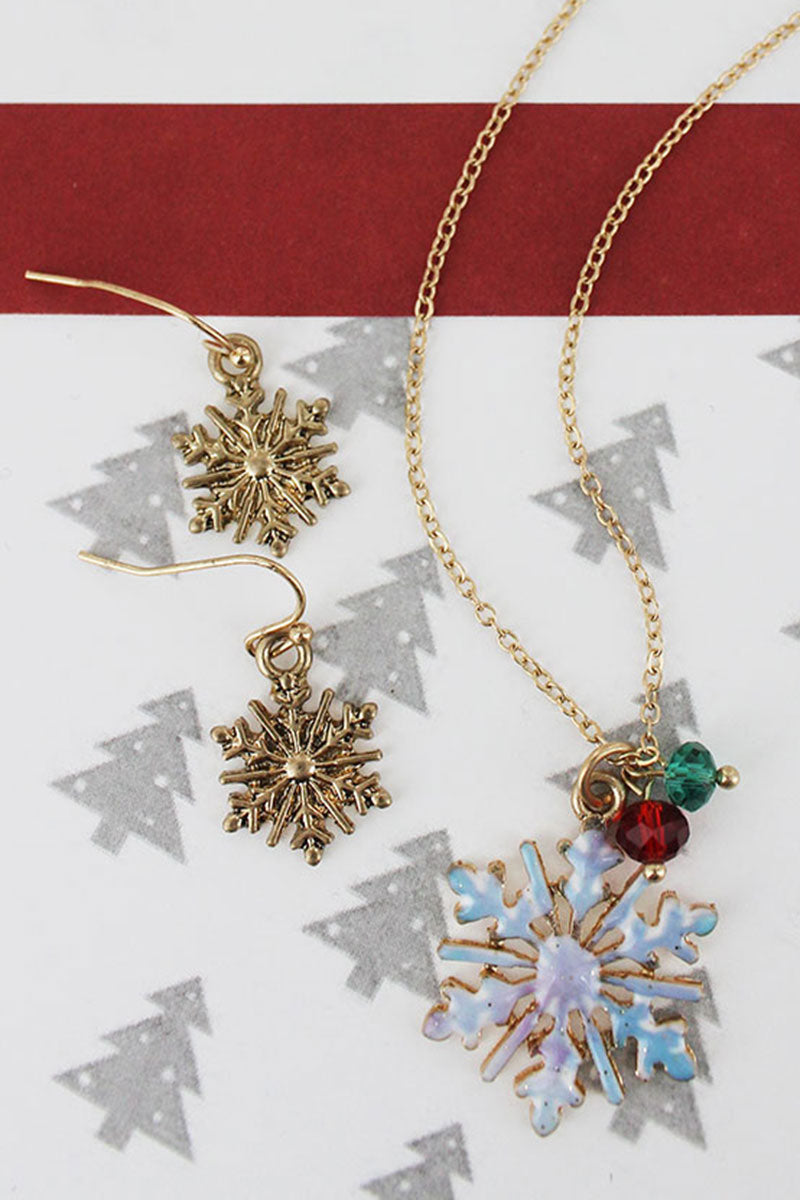 Snowflake Worn Goldtone Necklace and Earring Set