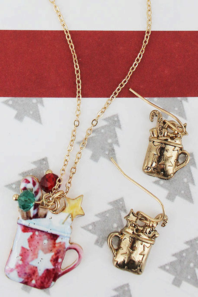 Hot Cocoa Worn Goldtone Necklace and Earring Set