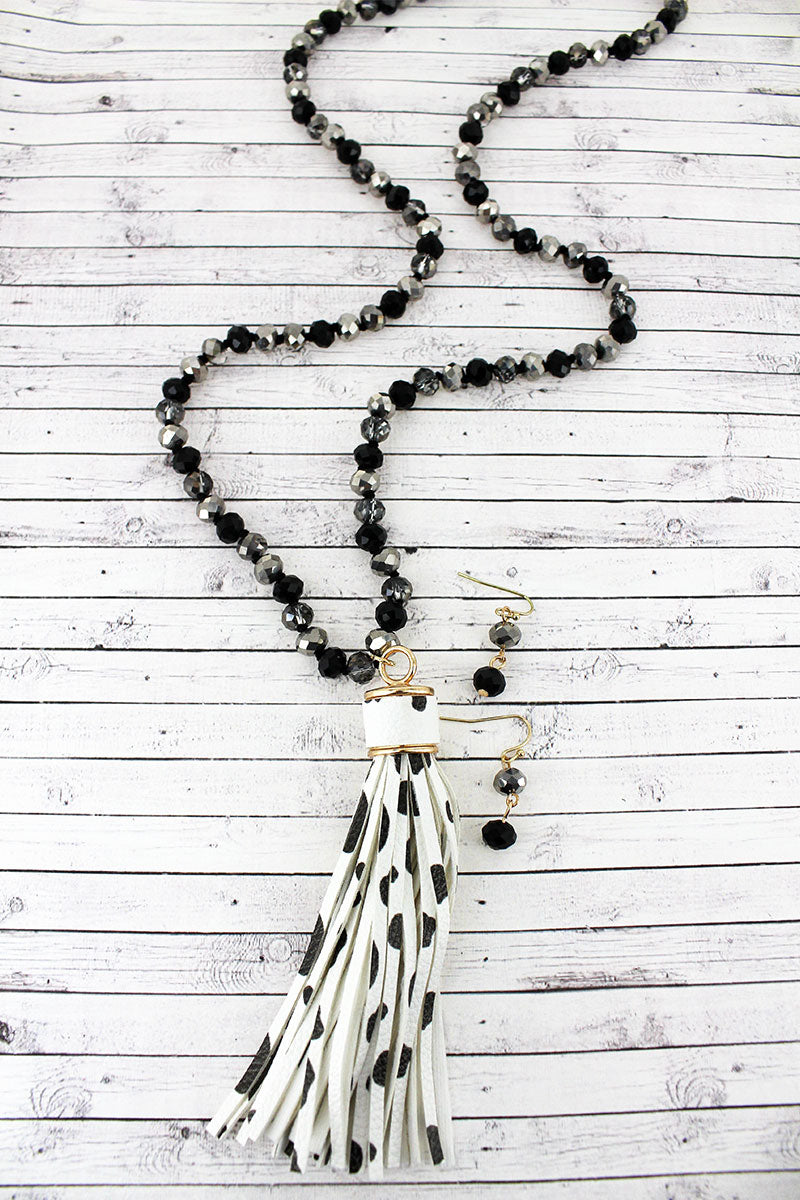 Cow Faux Leather Tassel Glass Beaded Necklace and Earring Set