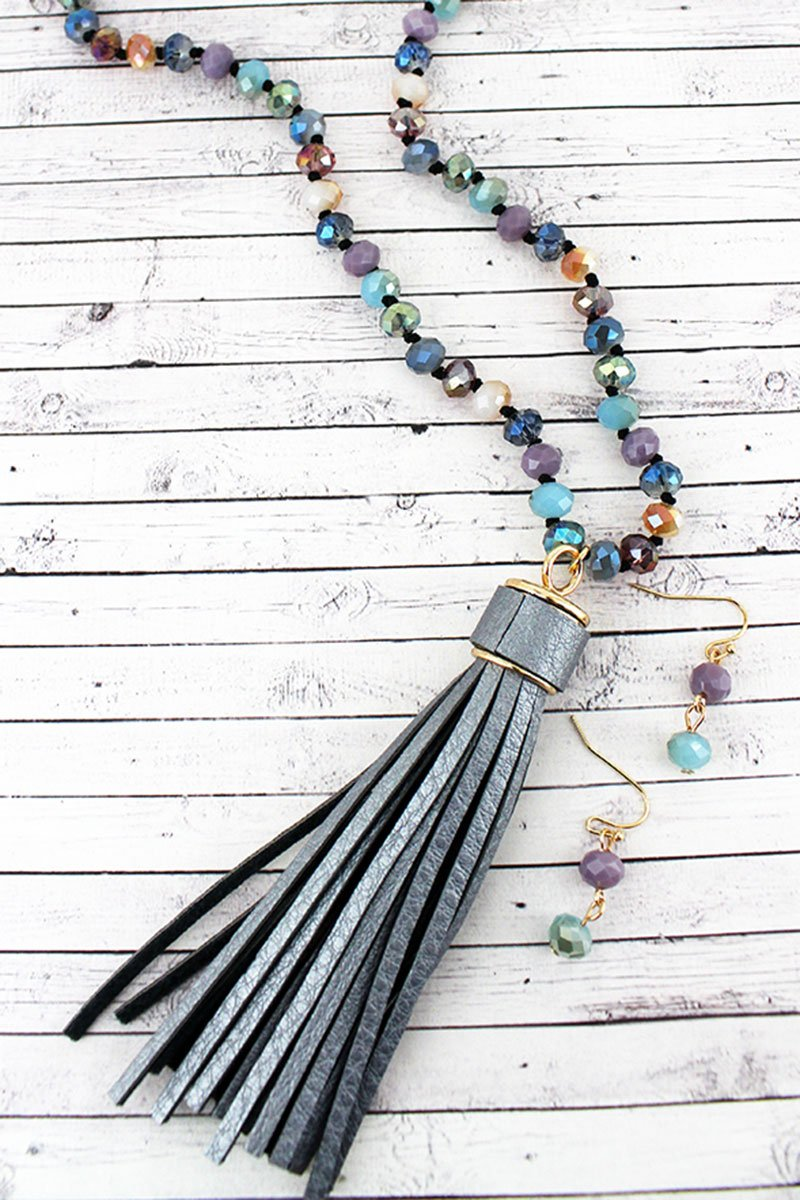 Dark Silver Faux Leather Tassel Glass Beaded Necklace and Earring Set