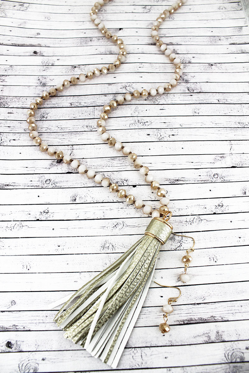 Gold Faux Leather Tassel Glass Beaded Necklace and Earring Set