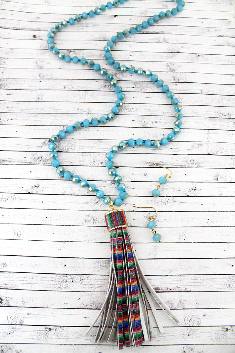 Serape Faux Leather Tassel Glass Beaded Necklace and Earring Set