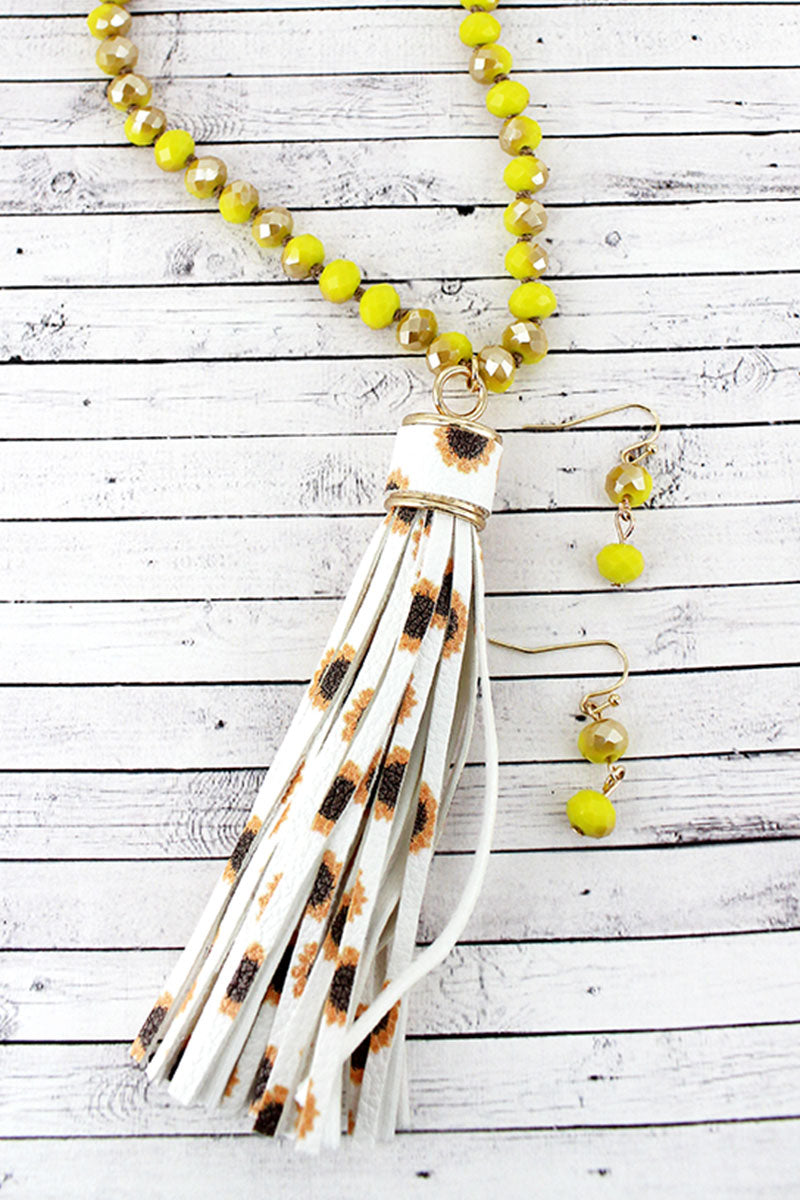 Sunflower Faux Leather Tassel Glass Beaded Necklace and Earring Set