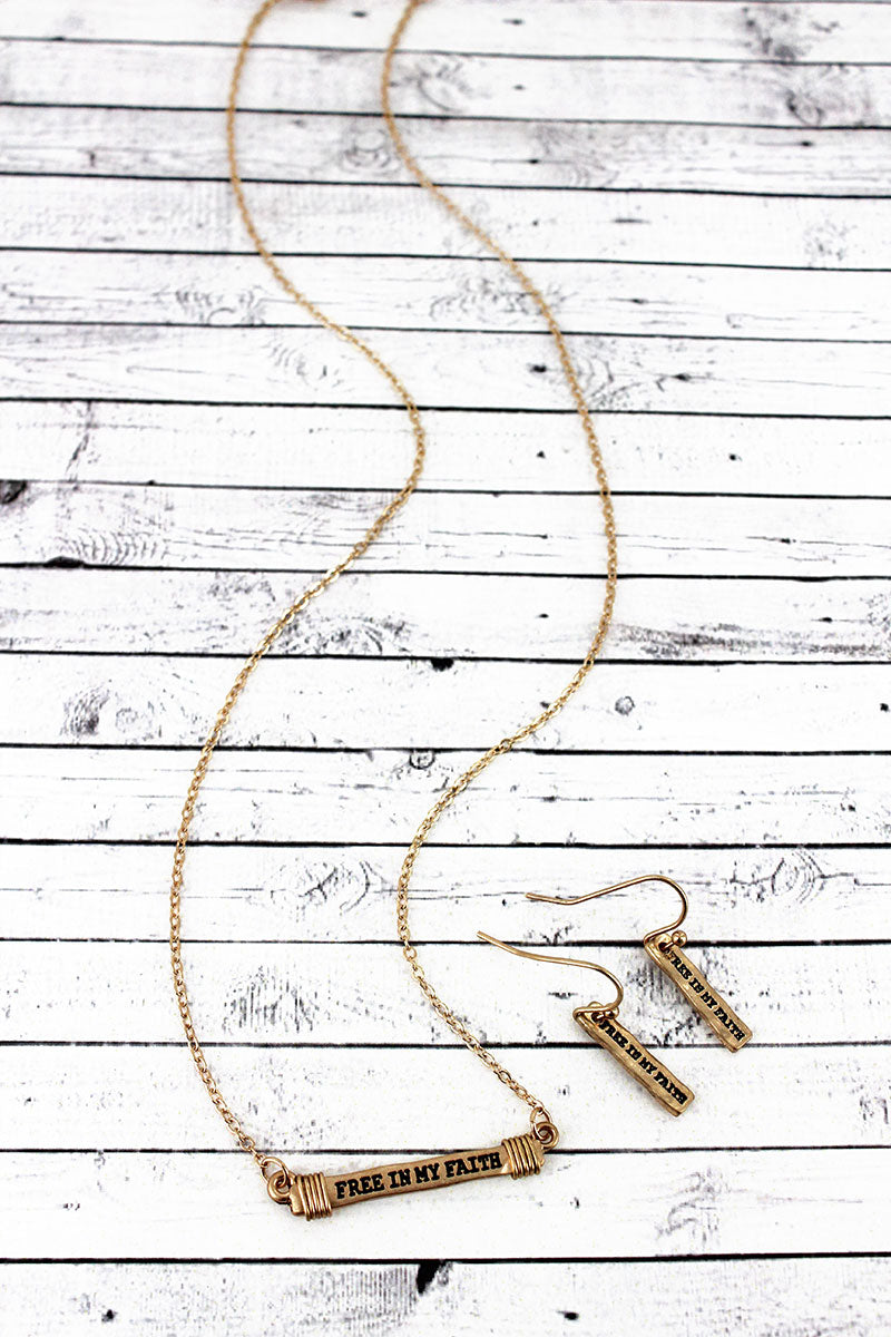 Worn Goldtone 'Free In My Faith' Wire-Wrapped Bar Necklace and Earring Set