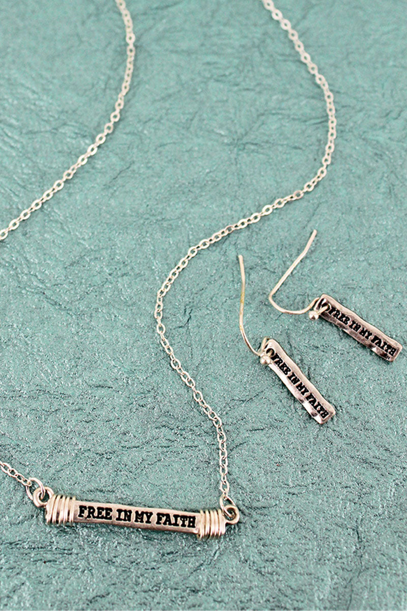 Worn Silvertone 'Free In My Faith' Wire-Wrapped Bar Necklace and Earring Set