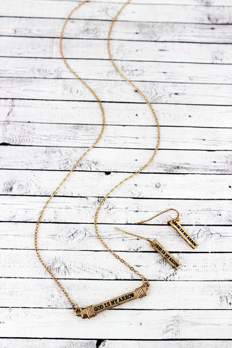 Worn Goldtone 'God Is My Arrow' Wire-Wrapped Bar Necklace and Earring Set