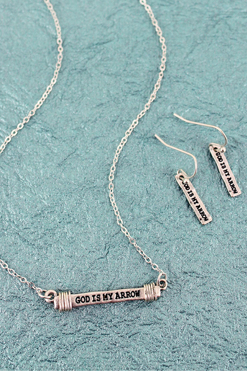 Worn Silvertone 'God Is My Arrow' Wire-Wrapped Bar Necklace and Earring Set