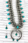 Silvertone and Turquoise Stone Squash Blossom Necklace and Earring Set