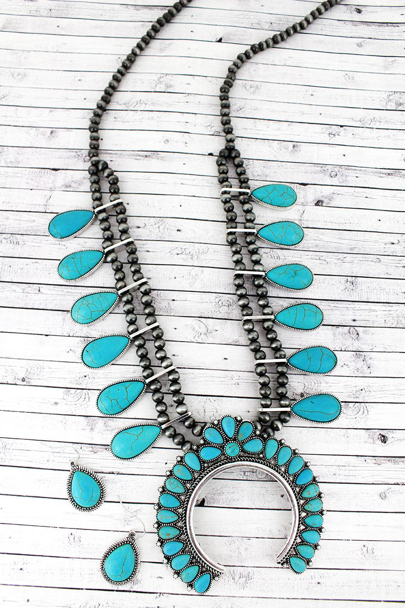 Turquoise Teardrop Squash Blossom Navajo Pearl Necklace and Earring Set