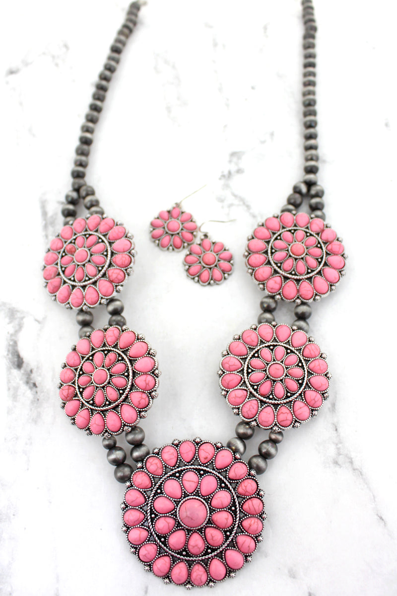 Pink Beaded Disks Navajo Inspired Pearl Necklace and Earring Set
