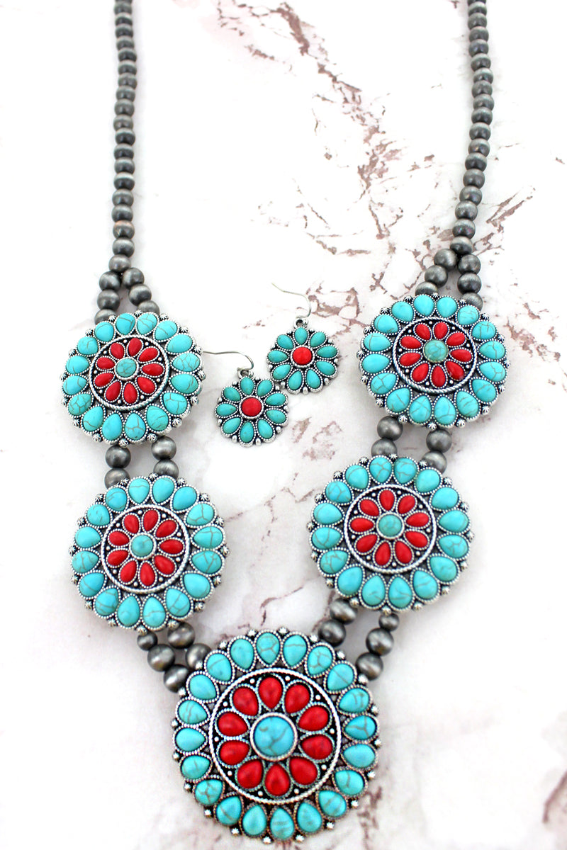 Turquoise and Coral Beaded Disks Navajo Inspired Pearl Necklace and Earring Set