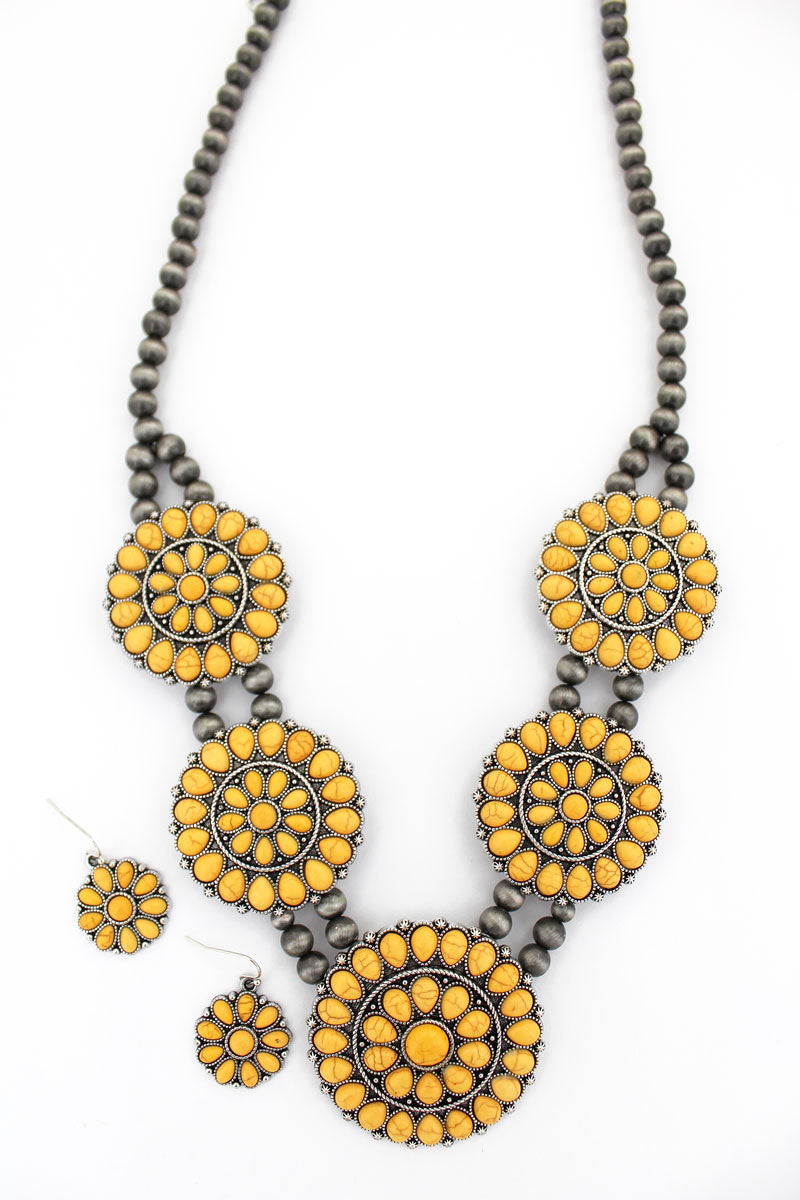 Yellow Beaded Disks Navajo Pearl Necklace and Earring Set