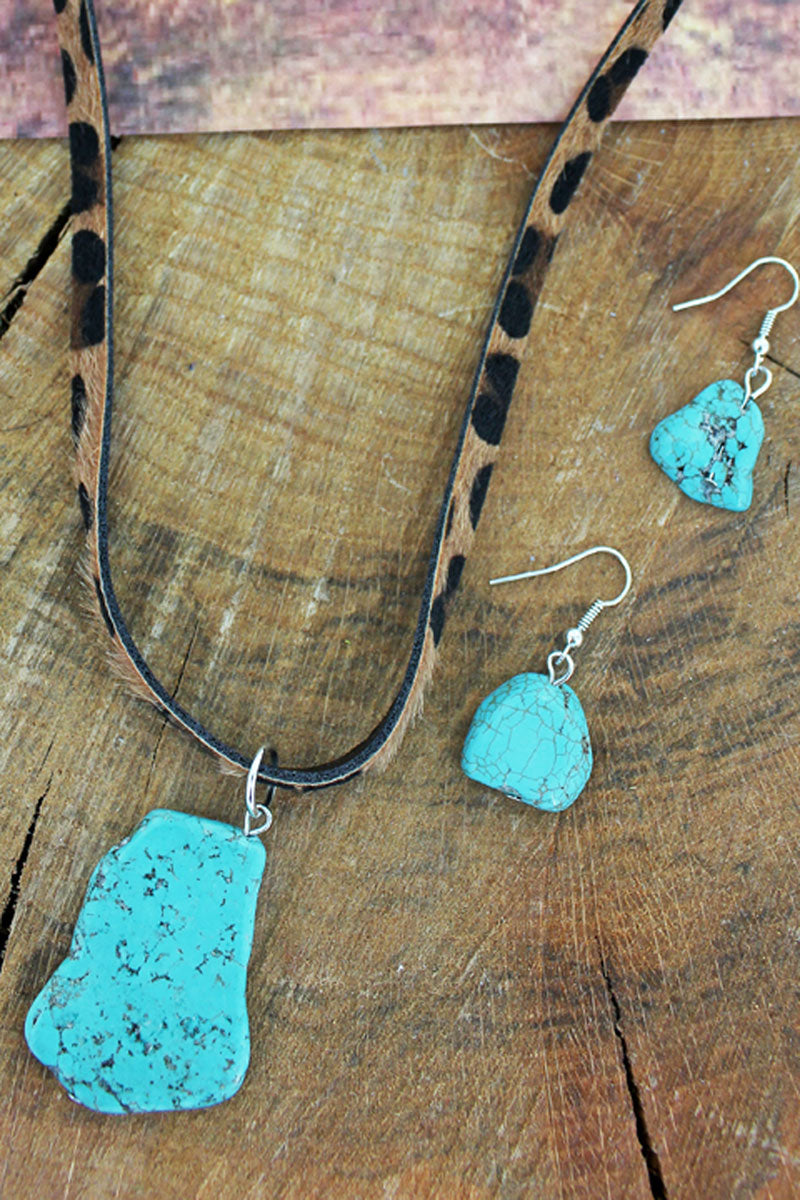 Turquoise Stone Pendant Leopard Cord Necklace and Earring Set